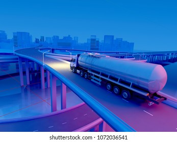 Graphic image of highway with cars. ,3d render