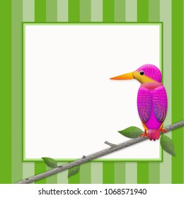 Graphic Kingfisher bird perched on branch with text area in white and shades of green stripes in background