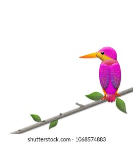 Graphic Kingfisher bird perched on branch isolated on white background.