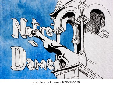 Graphic line art of Notre Dame gargoyle sculptures with architectural detail, black, white and blue with text Notre-Dame