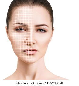 Graphic lines showing facial lifting effect on skin. Isolated on white.