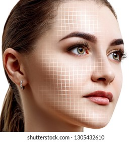 Graphic lines shows facial lifting effect on skin. Isolated on white.