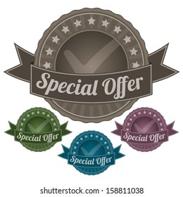 Graphic For Marketing Campaign, Promotion or Sale Event Present By Colorful Vintage Style Special Offer Icon or Badge Isolated on White Background