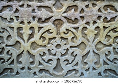Graphic ornament on the wall. Spanish pattern style.