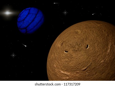 a graphic of planets in space
