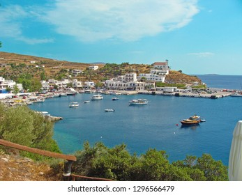 The graphic port of Linaria in Skyros, Sporades complex, Greece, on a bright summer day.