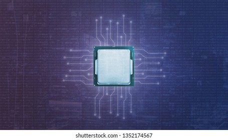 Graphic processor unit GPU and microelectronic circuits. Binary code on purple blue background.