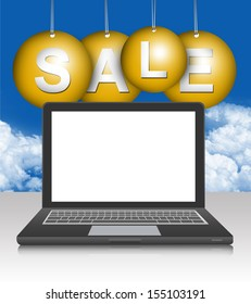 Graphic For Promotion and Sale Season Campaign, Blank Screen Black Computer Laptop With Hanged Yellow Sale Tag in Blue Sky Background