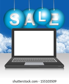 Graphic For Promotion and Sale Season Campaign, Blank Screen Black Computer Laptop With Hanged Blue Sale Tag in Blue Sky Background