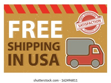 Graphic For Promotional Sale or Marketing Campaign Present By Vintage Style Free Shipping in USA Postcard With Red Lorry or Truck Sign and 100 Percent Satisfaction Guarantee Stamp Isolated on White