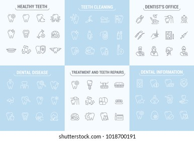 graphic set. Simple isolated Icons in flat, contour, outline, thin and linear design. Dental care and dentist. Disease, treatment. Prosthetics, removal. Element, emblem, symbol, logo. Raster version.
