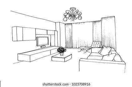 Graphic sketch room, TV, upholstered furniture, flowers, chandelier, liner
