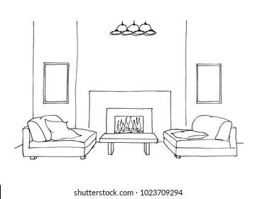 Graphic sketch room, upholstered furniture, fireplace, liner