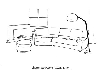 Graphic sketch room, upholstered furniture, fireplace, floor lamp, liner