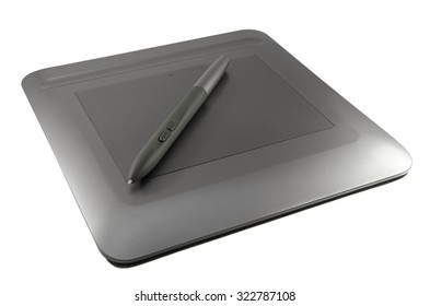 graphic tablet on white background