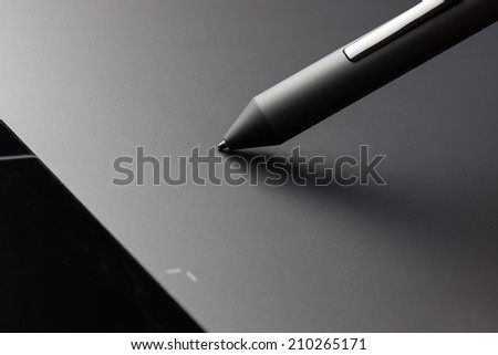 Graphic tablet pen stylus extreme closeup macro