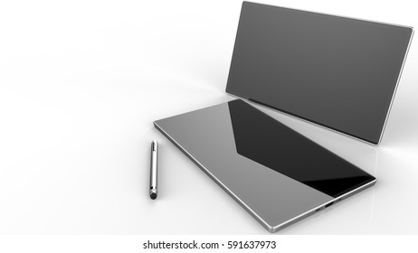 Graphic tablets with stylus pen for illustrators and designers. 3D illustration. 3D CG. High resolution.