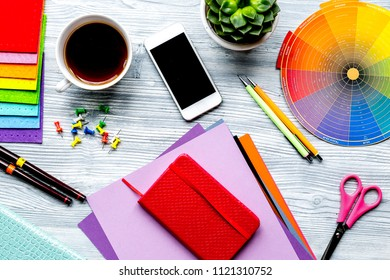 graphic tools in designer concept on white background top view