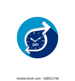Graphic web 24 hours timer, around-the-clock pictogram. Business time management illustration.