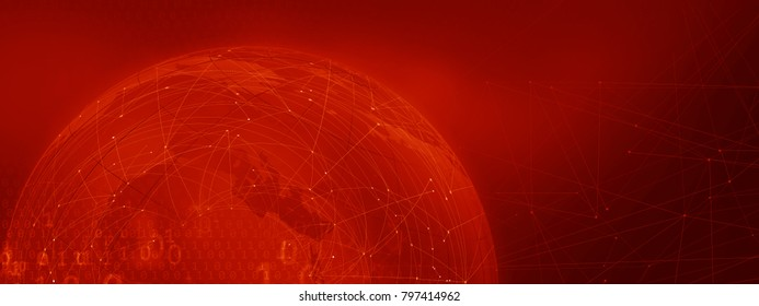 Graphical blockchain red theme background with connection lines and binary codes. Global connectivity technology concept
