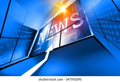 Graphical digital news background with arrows and news text, sun flare,...