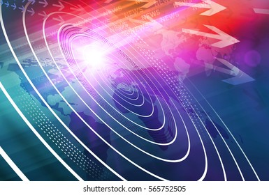 Graphical digital news background with world map and concenteric waves circles. 3d Illustration, 3d Render