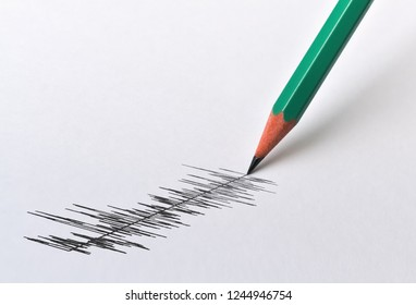 Graphical display of a physical magnitude and pencil on bright background