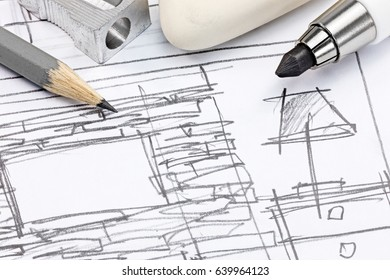 graphical draft sketch of modern room interior with designers tools macro view