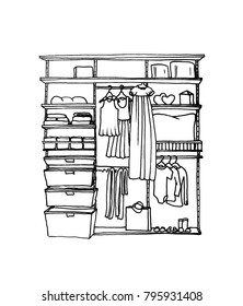 Graphical sketch of children's wardrobe with shelves and hangers