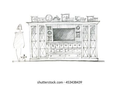 graphical sketch of an entertainment wall for interior living room