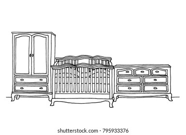 Graphical sketch of an interior. Children's furniture: bed, chest of drawers and wardrobe