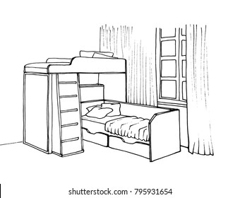 Graphical sketch of an interior children's room bunk bed with stairs, window