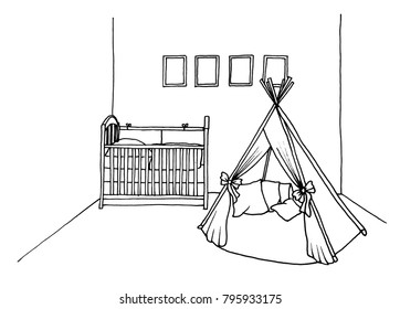 Graphical sketch of an interior children's room a bed and a riding-school, a tent