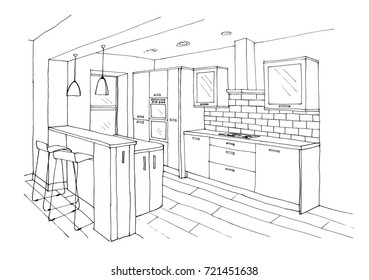 Graphical sketch of an interior kitchen, bar table, high chairs, stove, extractor, oven, liner