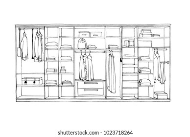 Graphical sketch of wardrobe with shelves and hangers