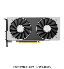 Graphics Card Isolated on White Background. PC Display Adapter. Modern Personal Computer Gaming GPU Desktop 14G GDDR6 Video Card 2X Cooling System with Alternate Spinning Fans. Real Time Ray Tracing