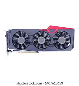 Graphics Card Isolated on White Background. PC Display Adapter. Modern Personal Computer Gaming GPU Desktop 6G GDDR6 Video Card 3X Cooling System with Alternate Spinning Fans. Real Time Ray Tracing