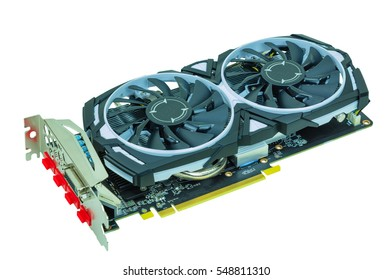 Graphics cards for computers on a white background. , vga card