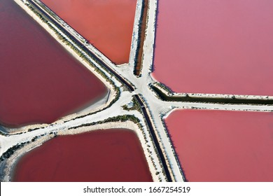 Graphics and colors of the Camargue salt marshes in the town of Aigues-Mortes, Gard, Lanquedoc-Roussillon Occitanie region, Camargue, south of France