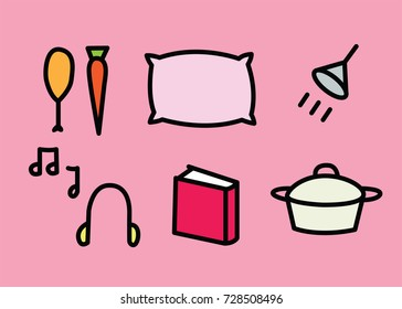 Graphics of food and relaxation items