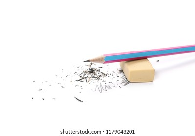 Graphite pencil and eraser with shavings isolated on white background