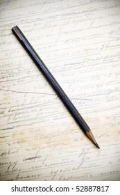 graphite pencil on a handwritten grunge page