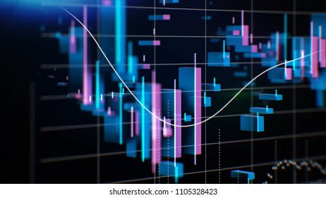 Graphs, charts and data. Perfect Flight through Business Network. Stock. Looped animation. Growing Business Chart with blue color
