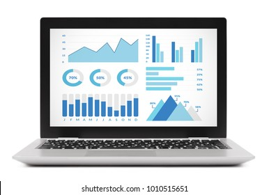 Graphs and charts elements on laptop computer screen. Isolated on white background. All screen content is designed by me.