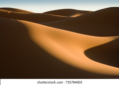 Grapical lines at Sunrise at the dunes of Hassi Labiad (Sahara) , Morocco