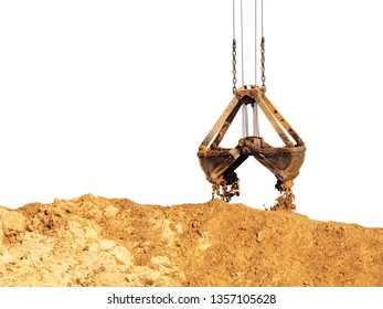 Grapple isolated on white background. Unloading sand, pile of sand. Grapple lifting device for port cranes for bulk materials, iron scoop