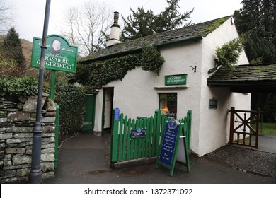 Grasmere, Cumbria, England: December 2018 - The Grasmere Gingerbread Shop in the village in the Lake District.
