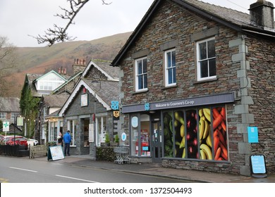 Grasmere, Cumbria, England: December 2018 - Grasmere Co-op shop in the village in the Lake District, England.