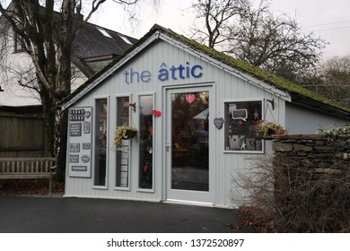 Grasmere, Cumbria, England: December 2018 - The Attic store in Grasmere a village in the Lake District.
