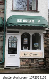 Grasmere, Cumbria, England: December 2018 - Ice cream shop in Grasmere village in the Lake District.